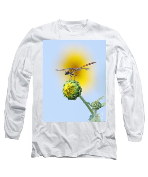 Dragonfly In Sunflowers Long Sleeve T-Shirt