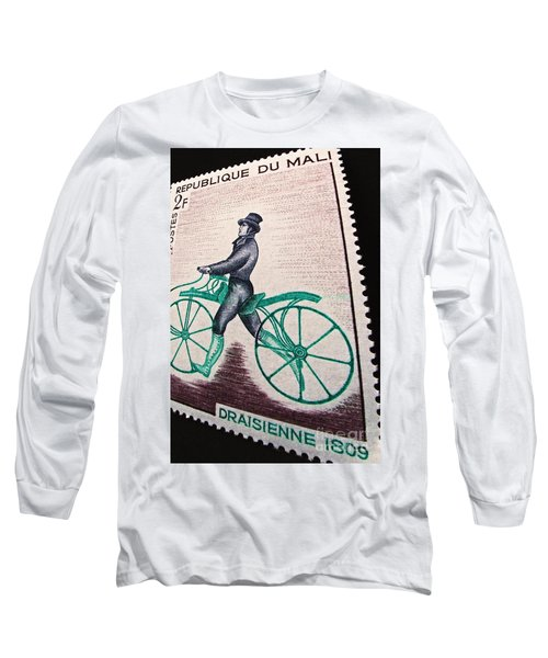 Long Sleeve T-Shirt featuring the photograph Draisienne 1809 Vintage Postage Stamp Print by Andy Prendy