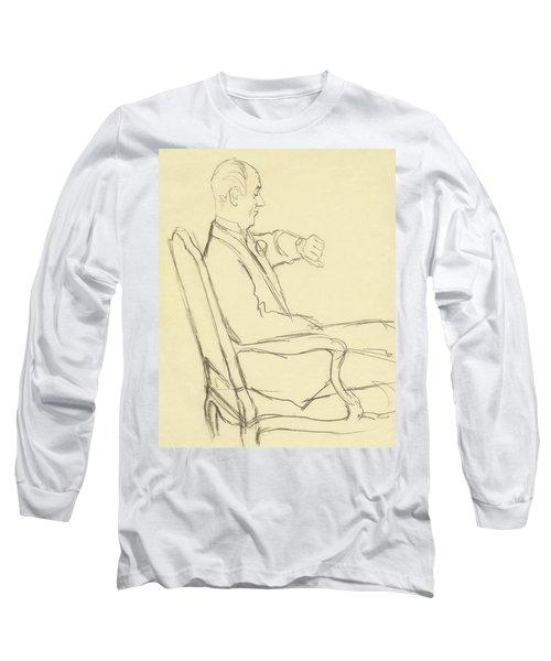 Drawing Of Man Looking At His Watch Long Sleeve T-Shirt