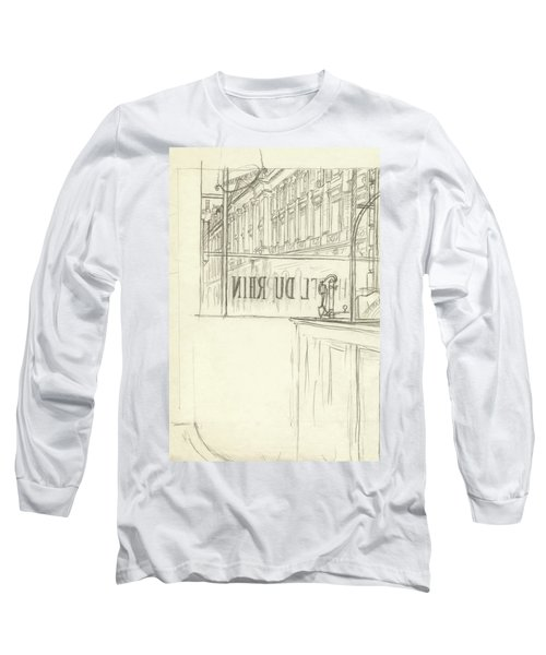 Drawing Of A Bar And Front Window Of Hotel Du Rhin Long Sleeve T-Shirt