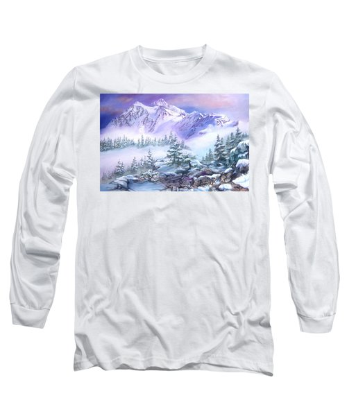 Long Sleeve T-Shirt featuring the painting Dressed In White Mount Shuksan by Sherry Shipley