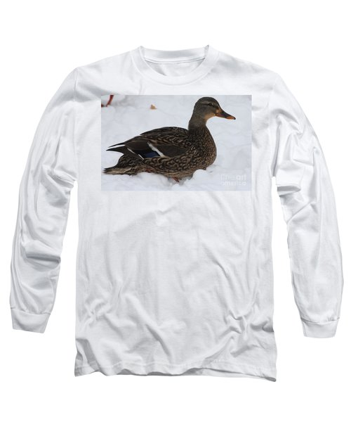 Long Sleeve T-Shirt featuring the photograph Duck Playing In The Snow by John Telfer