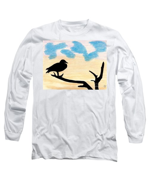 Long Sleeve T-Shirt featuring the drawing Duck Sunset by D Hackett