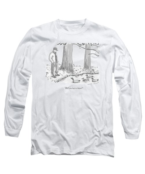 Ducks In A Pond Speak To A Man Long Sleeve T-Shirt