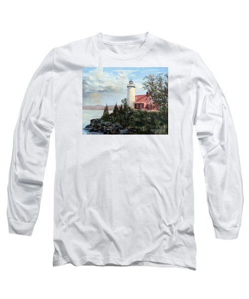 Eagle Harbor Light Long Sleeve T-Shirt by Lee Piper