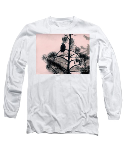 Long Sleeve T-Shirt featuring the drawing Eagle In Pink Sky by D Hackett