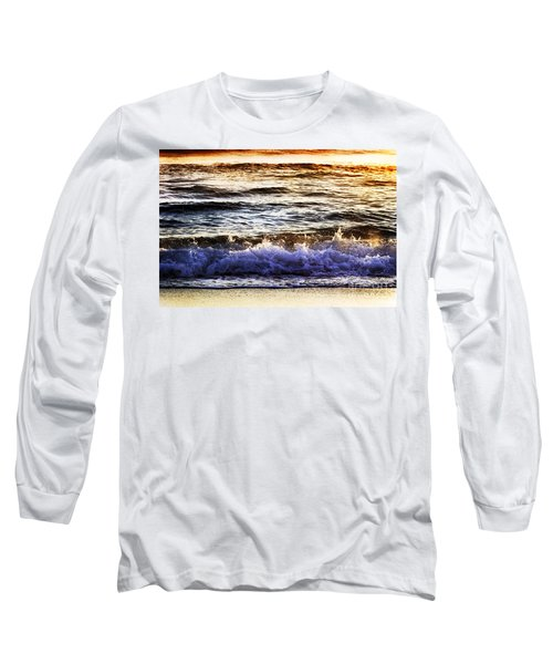Long Sleeve T-Shirt featuring the photograph Early Morning Frothy Waves by Amyn Nasser