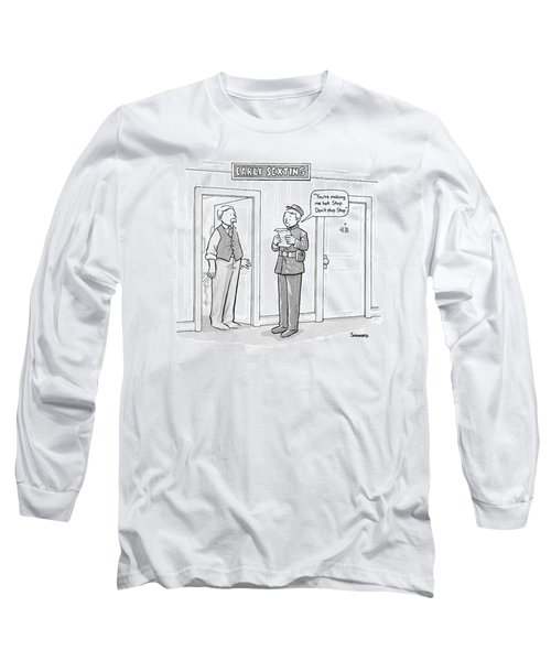 Early Sexting -- An Old-style Bellhop Reads An Long Sleeve T-Shirt