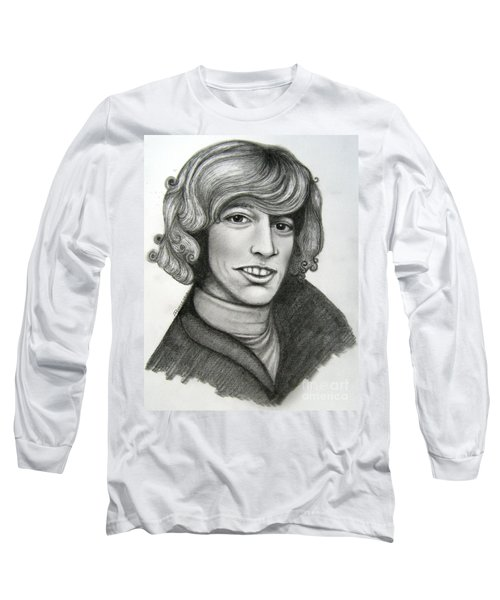 Long Sleeve T-Shirt featuring the drawing Robin Gibb by Patrice Torrillo