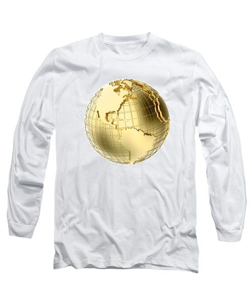 Earth In Gold Metal Isolated On White Long Sleeve T-Shirt by Johan Swanepoel