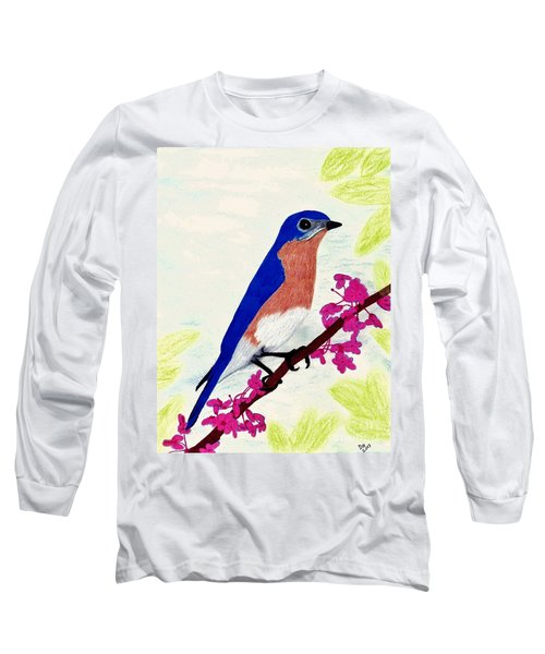 Long Sleeve T-Shirt featuring the drawing Florida - Eastern - Blue Bird by D Hackett