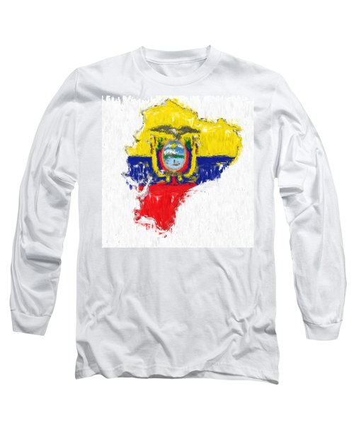Ecuador Painted Flag Map Long Sleeve T-Shirt by Antony McAulay