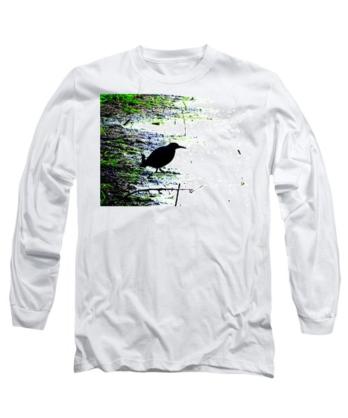 Edgar Allan Poe's Raven On The Edge Of Oblivion By Ron Tackett Long Sleeve T-Shirt