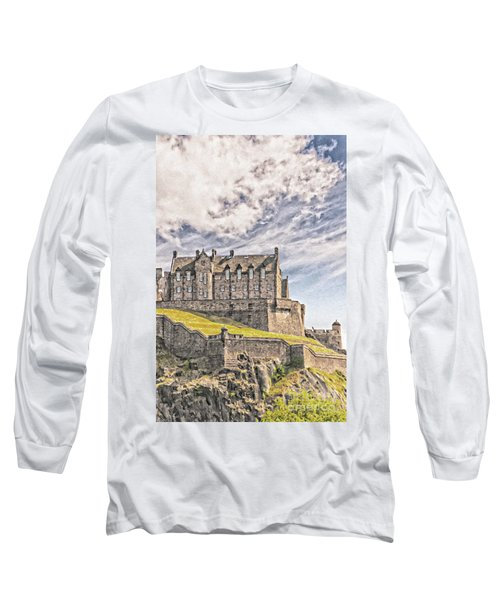 Edinburgh Castle Painting Long Sleeve T-Shirt by Antony McAulay