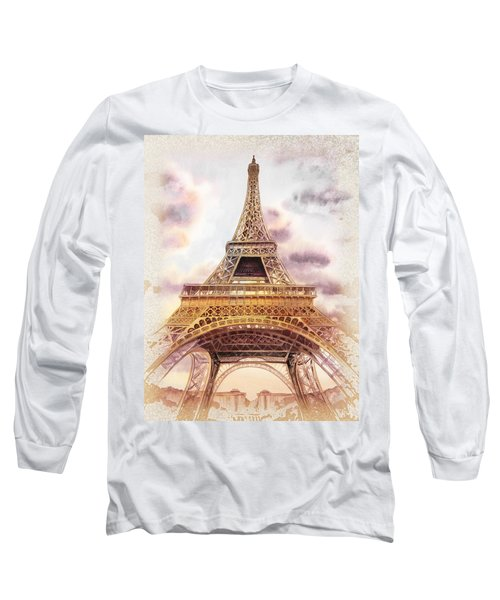 Eiffel Tower Vintage Art Long Sleeve T-Shirt by Irina Sztukowski