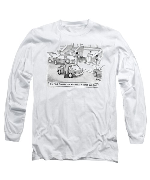Einstein Is Seen Standing Next To A Parked Car Long Sleeve T-Shirt