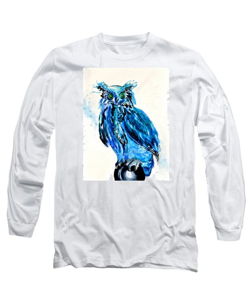 Electric Blue Owl Long Sleeve T-Shirt by Beverley Harper Tinsley