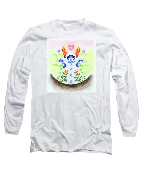 Long Sleeve T-Shirt featuring the drawing Elements by Keiko Katsuta