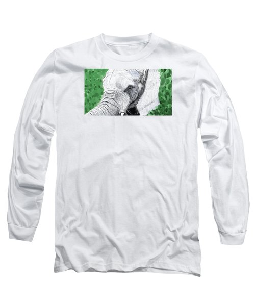 Long Sleeve T-Shirt featuring the painting Elephant 1 by Jeanne Fischer