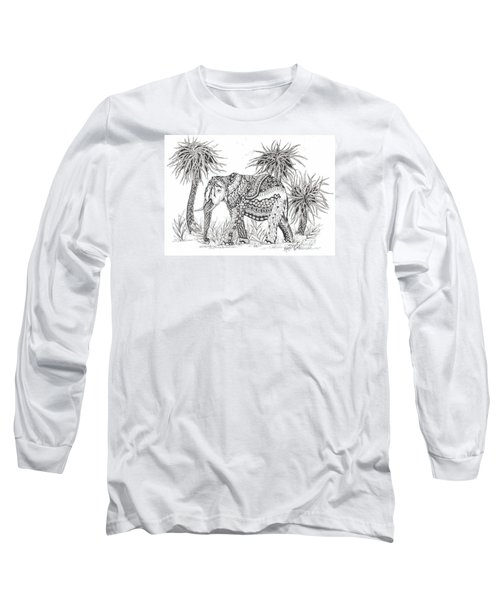 Elephant And Trees Zentangled Long Sleeve T-Shirt