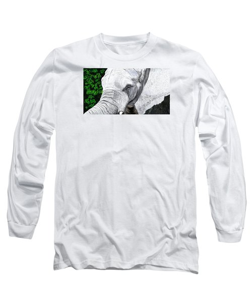 Long Sleeve T-Shirt featuring the painting Elephant II by Jeanne Fischer