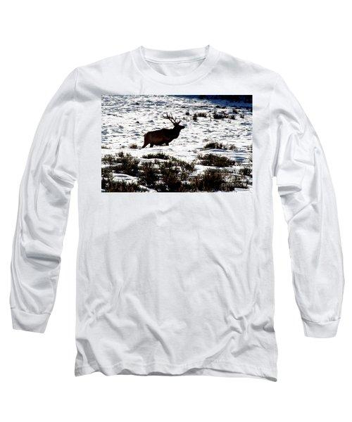 Elk Silhouette Long Sleeve T-Shirt by Sharon Elliott
