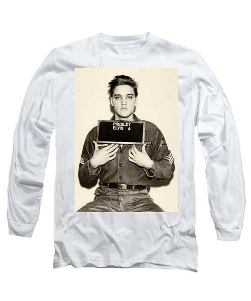 Long Sleeve T-Shirt featuring the photograph Elvis Presley - Mugshot by Digital Reproductions