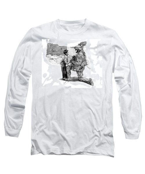 Long Sleeve T-Shirt featuring the drawing Empty Pockets  by Peter Piatt