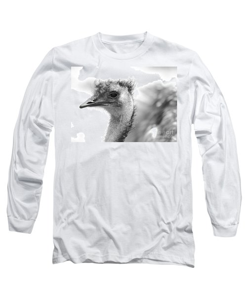 Emu - Black And White Long Sleeve T-Shirt by Carol Groenen