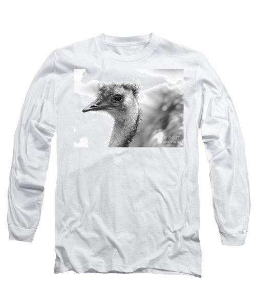 Emu - Black And White Long Sleeve T-Shirt by Carol Groenen