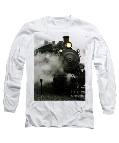 Engine Number 40 Making Steam Pulling Into New Hope Passenger Train Terminal Long Sleeve T-Shirt by Michael Hoard