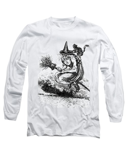 Engraving Of Ugly Old Witch Riding Long Sleeve T-Shirt