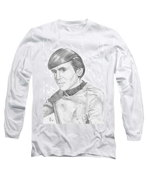 Long Sleeve T-Shirt featuring the drawing Ensign Pavel Chekov by Thomas J Herring