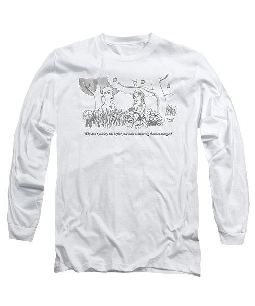 Eve Hands An Apple To Adam In The Garden Of Eden Long Sleeve T-Shirt