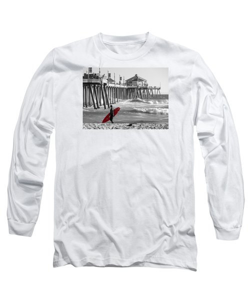 Existential Surfing At Huntington Beach Selective Color Long Sleeve T-Shirt