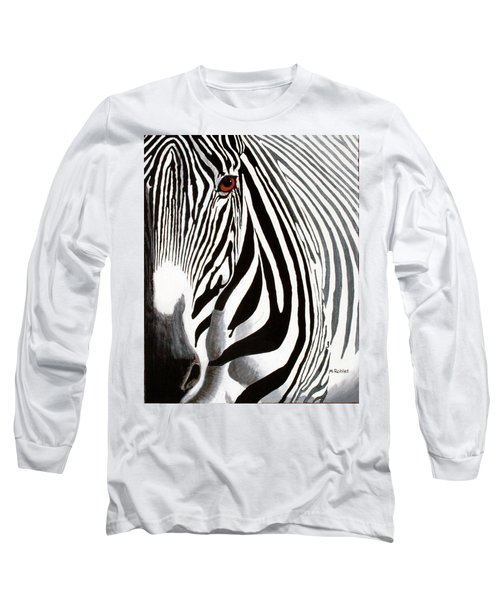 Eye Of The Zebra Long Sleeve T-Shirt by Mike Robles