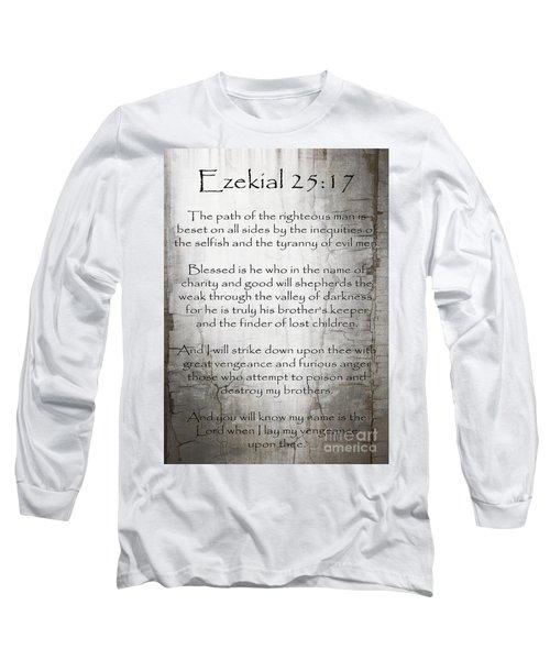 Ezekial 25 17 Long Sleeve T-Shirt by Roz Abellera Art