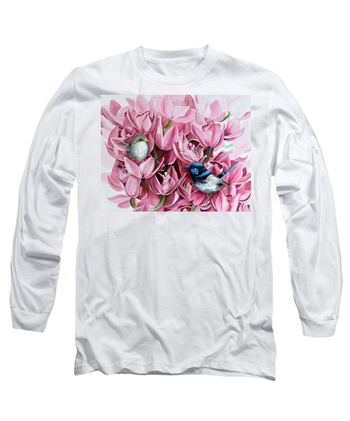Fairy Wrens And Orchids Long Sleeve T-Shirt by Debbie Hart