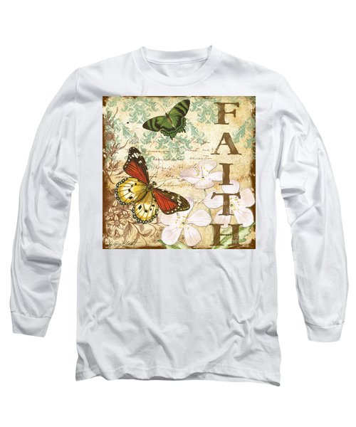 Faith And Butterflies Long Sleeve T-Shirt by Jean Plout