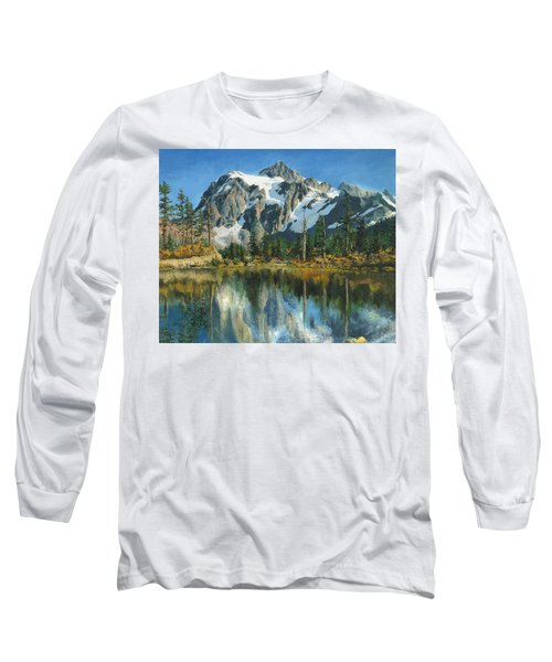 Fall Reflections - Cascade Mountains Long Sleeve T-Shirt by Mary Ellen Anderson