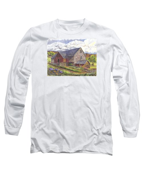 Long Sleeve T-Shirt featuring the drawing A Scottish Farm  by Carol Wisniewski