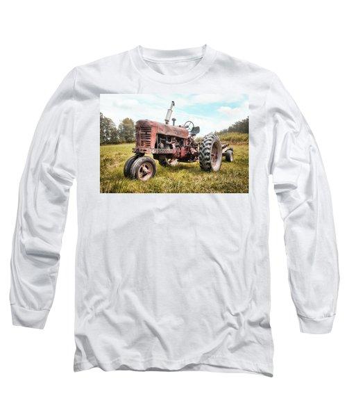 Long Sleeve T-Shirt featuring the photograph Farmall Tractor Dream - Farm Machinary - Industrial Decor by Gary Heller