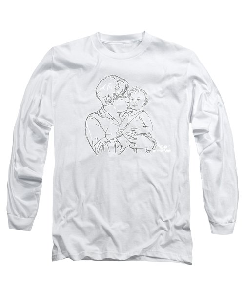 Long Sleeve T-Shirt featuring the drawing Father And Son by Olimpia - Hinamatsuri Barbu