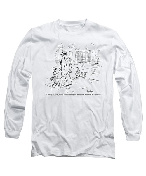 Father Speaks To Son As They Walk Hand In Hand Long Sleeve T-Shirt