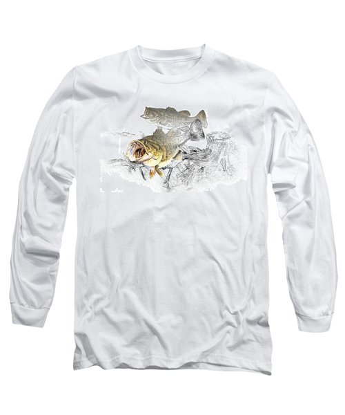 Feeding Largemouth Black Bass Long Sleeve T-Shirt