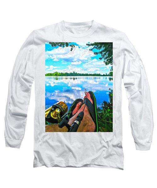 Feet Up Fishing Crab Orchard Lake Long Sleeve T-Shirt