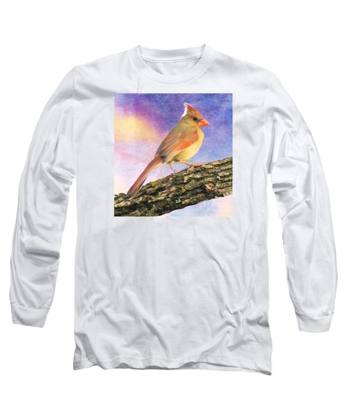 Female Cardinal Away From Sun Long Sleeve T-Shirt by Janette Boyd