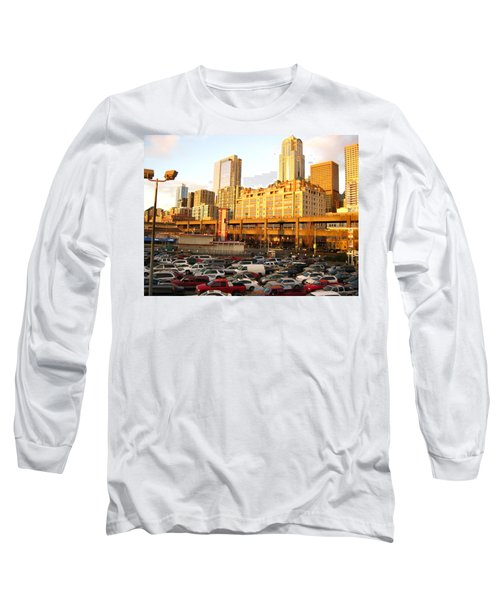Ferry Lines At Sunset Long Sleeve T-Shirt by David Trotter