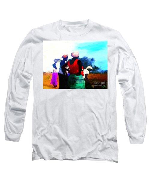 Long Sleeve T-Shirt featuring the painting Field Women by Vannetta Ferguson