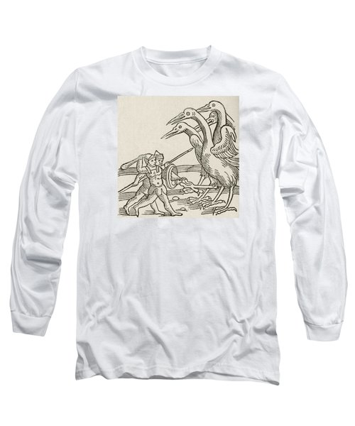 Fight Between Pygmies And Cranes. A Story From Greek Mythology Long Sleeve T-Shirt